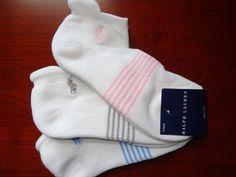 Ralph Lauren Women's Socks Heel Tab Ankle Low Cut 3 Pack White w/ Stripes NEW #RalphLauren #Athletic