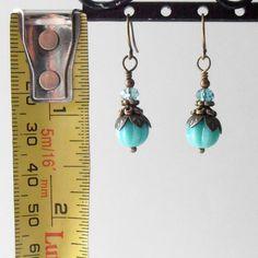 Glass Bead Earrings Vintage Style Dangles Aqua by CopperNichols, $12.00
