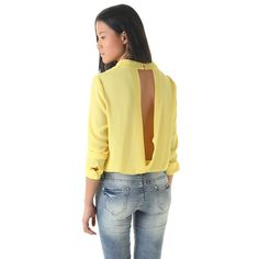 Q2 Store Yellow chiffon body with open back