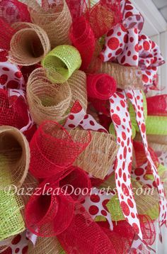Curly Q Deco Mesh Wreath in Red Lime Green and Jute by DazzleaDoor