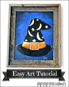 Halloween Art Projects - Paint a Witch's Hat on Canvas  EASY step-by-step photo tutorial!