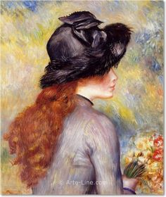 Young Girl Holding at Bouquet of Tulips by Pierre Auguste Renoir