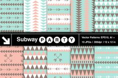 Ten Seamless Tribal Style Vector Patterns (EPS, Ai) and Backgrounds / Digital Papers (JPGs) in Mint, Coral, Pastel Brown and White Triangles and Arrows. Vector file contains Pattern Swatches