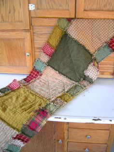 Rustic Quilted Table Runner Rag Quilt 56 long by ZitiZoo on Etsy, $62.00