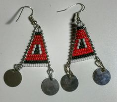 African Maasai Earrings ImunaRed/Navy Blue/White by DynastAmir