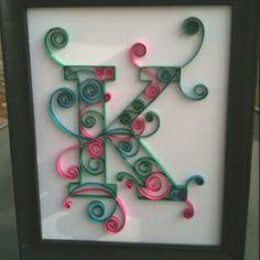 quilled monogram K 8x10