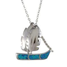 La Preciosa Sterling Silver Created Blue Opal Sailboat Necklace | Overstock.com