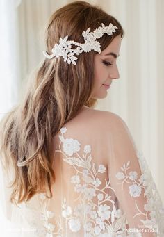 It is so glam and boho chic – adorned with hand beaded guipure lace flowers, French lace, Preciosa crystals and pearls. This headpiece goes all the way around the hair, and is a beautiful option for a bride, as the back detail will be visible when walking down the aisle. #wedding #headpieces #bridal #accessories #JannieBaltzer