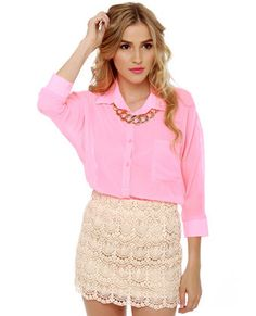 Love the whole thing: gold necklace, lipstick, pink blouse, lace skirt. Lulus; Afternoon Moon Cream Lace Mini Skirt $37