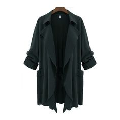 Plus Size Dark Green Long Sleeve Trench Coat ($22) ❤ liked on Polyvore featuring outerwear, coats, jackets, cardigans, coats / parkas, green, long parka, long trench coat, long coat and long parka coat