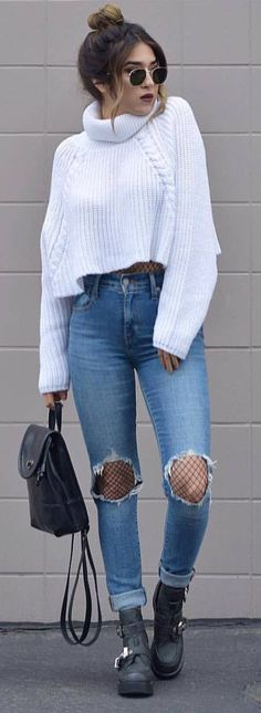 what to wear with a white crop sweater : bag   rips   boots