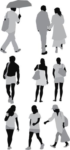 Vectores libres de derechos: Silhouette of people in different poses