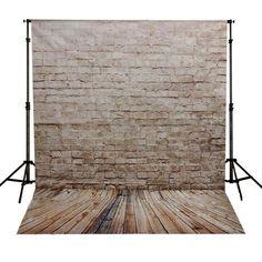 Neutral Brick Wall & Wood Floor Photography Studio Backdrop
