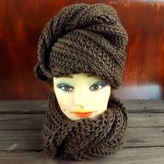 Brown Crochet Hat Womens Hat, DEITRA Fashion Turban Hat, Infinity Scarf, Brown Hat, Brown Scarf, Brown Crochet Scarf, Winter Hat
