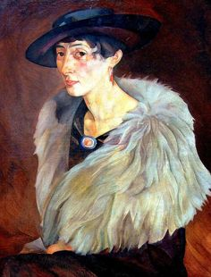 Portrait of Anna Grilikhes, 1917 by Boris Grigoriev (Russian 1886-1939)