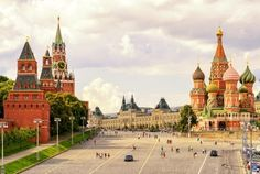 kremlin and st basil's cathedral on the red square in moscow in summer russia. moscow kremlin is one of the main travel attractions in europe. beautiful sunny panorama of moscow centre. Monuments, Place Rouge, St Basils Cathedral, List Challenges, St Basil's, May Bay, Plaza, Big Ben, Moscow