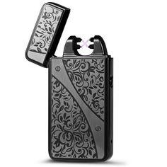 Padgene Briquet Double Arc Electrique Sans Flamme Rechargeable USB Anti Vent,Noi