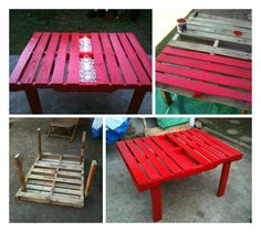 Pallet Tables Projects Here is a weekend DIY project. Not so much work and a beautiful result at the end! Love the idea … - Here is a weekend DIY project. Not so much work and a beautiful result at the end! Love the idea … Build A Table, Diy Table, Wood Table, Vertical Pallet Garden, Pallets Garden, Recycled Pallets, Wooden Pallets, 1001 Pallets, Pallet Benches