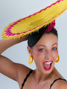 "CARMEN | Yellow Hat for Spring Racing Carnival | FORD MILLINERY  $350  Upturned yellow disc of buntal straw, donning frayed edges and magenta ric-rac. Mounted atop a black dented sinamay base, with deliciously vibrant magenta silk roses that somehow look good enough to eat. ""Look at me and tell me if I don't have Brazil in every curve of my body."" – Carmen Miranda. Fascinators, Headpieces, Spring Racing Carnival, Carmen Miranda, Millinery Hats, Silk Roses, Magenta, Brazil, Sassy"
