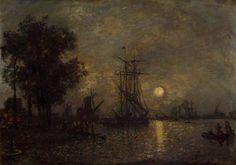 Johan Barthold Jongkind, Hollandaise Landscape with Docked Boat, 1868.