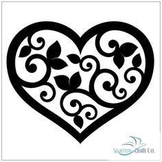 Topiary Hearts 1 SilhouetteSilhouette size: x or x by Urban Elementz Stencil Templates, Stencil Patterns, Stencil Designs, Embroidery Patterns, Hand Embroidery, Heart Stencil, Stencil Painting, Silhouette Design, Silhouette Vector