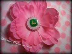 Pink John Deere hair flower by KaySki2 on Etsy, $5.00