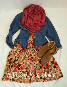 LuLaRoe Katie Aman / LuLaRoe style inspiration/ Fall / Fall Style Inspiration / Fall Fashion / Boots / Booties / Jean Jacket / Amelia dress