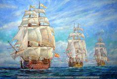 Durante más de dos siglos  los navíos españoles mantuvieron la supremacía Naval. Obra de Armina (Moreno y Vallespín)