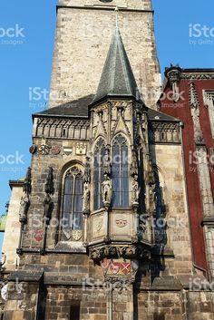 Detail of th tower of the astronomical clock of Prague foto stock royalty-free