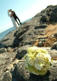On a cliff, overlooking the ocean and mountains at the Oak Bay Beach Hotel. #Wedding #Ocean #Victoria #VictoriaBC #heartVICTORIA | www.tourismvictoria.com