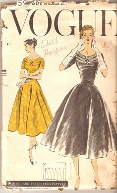 1950s Vogue Dress Pattern Cocktail Dress bust 34 by CherryCorners, $20.00