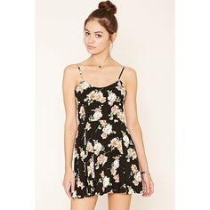 Forever 21 Women's  Floral Print Cami Dress ($16) ❤ liked on Polyvore featuring dresses, strap dress, floral camisole, flower pattern dress, woven dress and laced dress