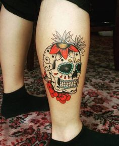 Beautiful Sugar Skull Tattoo by ming_naa_tattoo
