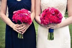 navy bridesmaids dresses; pink/fuchsia bouquet