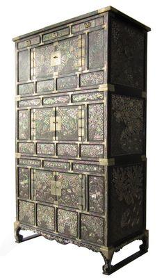 antique korean mother of pearl inlay chest amazoncom oriental furniture korean antique style liquor