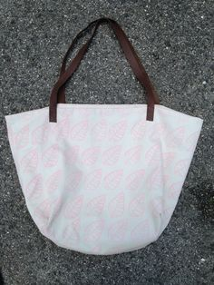 Hepphabit block printed canvas tote bag with leather handles - leaves