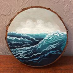 """Original artwork - oil on 4"""" wood round. January 11 2017    Part of my Savior + the Sea series. If Christ can calm the storm and command the sea, then He can calm the storm that's in my heart.    (c) Amber Whitworth. No part of this work, physical or digital, may be reproduced for profit or resold without written permission from the artist. 