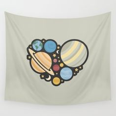 Heart of an Astronaut Wall Tapestry - Astronaut, astronauts, space, planet, planets, star, stars, solar system, Mercury, Venus, Earth, Mars, Jupiter, Saturn, Neptune, Pluto, sky, science, astronomy, astronomer, heart, hearts, love, vector, art, design, illustration, drawing, cute, simple, nerd, nerdy, science