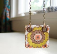 Necklace vintage fabric in mustard peach floral ~ Ponder and Stitch