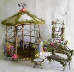 Fairy Garden Doll House Wood TWIG & Birch GAZEBO W Flowers Robin Spring Summer | eBay
