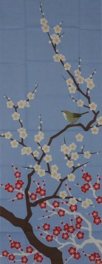 This charming tenugui features a delicate nightingale perched in a plum tree in full bloom, with a soft blue sky for the base. Tenugui are traditional Japanese cotton cloths. They were originally use                                                                                                                                                                                 More