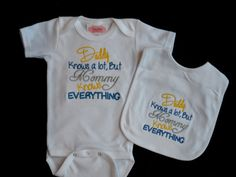 "Baby Boy Clothes Embroidered with "" Daddy Knows a Lot, But Mommy Knows Everything"" Preemie to 5T on Etsy, $26.00"