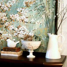 Springtime Mantel with Nature Elements