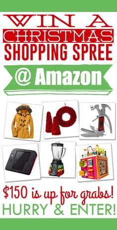 How'd you like to get your hands on a $150 gift card to spend on a Christmas Shopping Spree at Amazon?!  Click through to enter!!