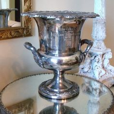 Man Cave Decor...You can fill it with ice and serve beverages from it...Vintage Golf Trophy Cup Urn Silver Plate by edithandevelyn on Etsy