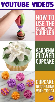 See all of the Wilton YouTube How-To video tutorials from baking basics on How to Level & Torte a Cake to more advanced tutorials like Gum Paste Poppy & Peony.  You'll find a wide range of decorating techniques using different Tips for cupcakes and cakes as well as delicious recipes to try.  Check out all of the videos on the Wilton YouTube Board!