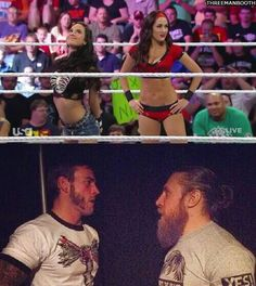 Brie Bella & AJ Lee team up while there husband Cm Punk & Daniel Bryan Talk backstage