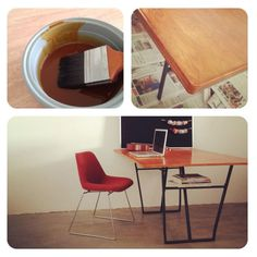 DIY plywood table and upside down ikea trestle legs.