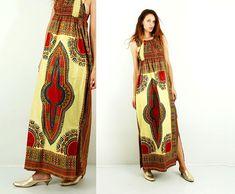 Dashiki Print Dress / Maxi Dashiki Dress / Summer African Dress / Tribal Dress / Peasant Dress / Split Dress / Traditional Clothing / Size S