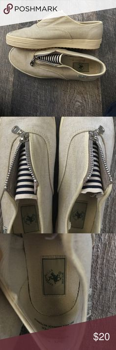 Beverly Hills Polo Club canvas sneakers 👟 Great condition! Can zip up or leave unzipped. Tan/wheat color. Linen upper. Super comfortable. Navy and white striped inside. A couple of minor dirt marks. Beverly Hills Polo Club Shoes Sneakers